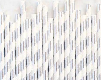 Silver Foil Paper Straws, Silver Foil Stripe Paper Straws, Silver Cake Pop Sticks, Foil Silver Paper Straws, Silver Wedding Paper Straws