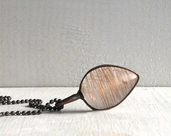 Minimal Clear Quartz Copper Rutile Rust Necklace Pendant Statement Necklace Gemstone Pendant Quartz Crystal Necklace Organic Handmade
