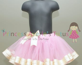 READY TO SHIP pink and gold tutu. 1-3 years.