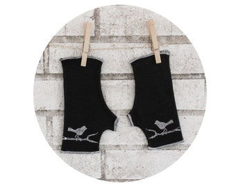Fingerless Gloves, Bird on a Branch, Short Arm Warmers, Black and White, Hand Sewn, Screen-printed Accessories, Christmas Gift for Her