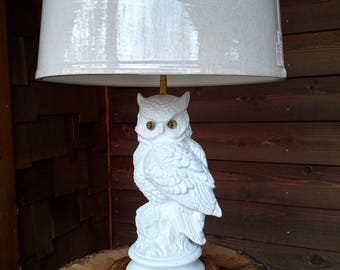 White Ceramic Owl Lamp with Light Wood Base