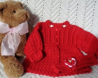 Valentine Crocheted Red Sweater w Headband Baby Girl Newborn 0 - 6 mo
