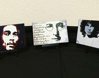 """3 Miniature Print on Canvas with Easels from Original Abstract Painting by Bryan Dubreuiel 4""""h by 6""""w Glazed Print"""