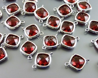 2 pink red ruby faceted diamond shape glass connectors, glass bead jewelry supplies 5063R-RU