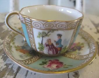 Antique Porcelain Dresden Demitasse Cup And Saucer