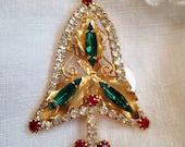 Rhinestone Christmas tree Brooch Holden Leaves