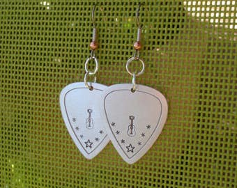 Aluminum guitar pick earrings with guitar and stars