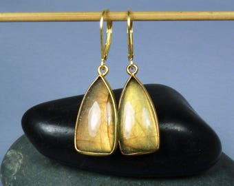 Flashy Labradorite Earrings, Flashy Labradorite Gems with Bright Copper, Coppery Peach, and Gold Flash, Gold Bezels and Leverback Ear Wires