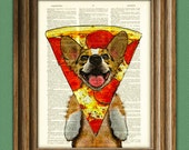 Pizza Corgi! Oregano the Welsh Corgi has the weirdest food dreams. Dog wearing a pepperoni pizza slice dictionary page book art print