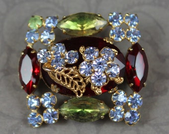 Vintage Rectangular Red, Gree and Blue Floral Rhinestone Brooch