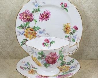 Vintage Hammersley Autumn Glory 3 Piece Bone China Bone China Tea Cup and Plate Set