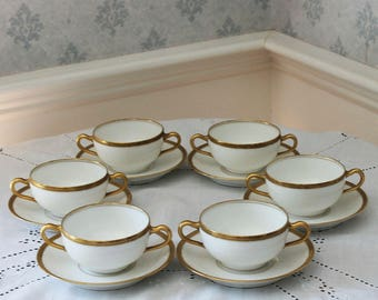 Set of 6 White and Gold Theodore Haviland Limoges French Boullion Bowls with Saucers