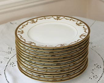 Set of 12 White and Gold Garland French CM Depose Limoges Dessert Plates