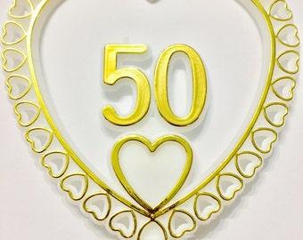 50th Anniversary Golden Anniversary Cake Topper
