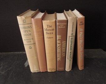 Old Books for Decor Beige Terracotta Brown Earth Shades - Faded Worn Book Set Stack - Vintage Instant Library