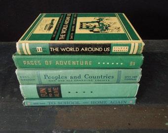 Green Book Stack - Instant Library - Bookshelf Decor - Decorative Vintage Old Books