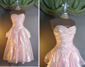 80s dress 1980s vintage PINK PEARL ice pink organza ruched full skirt party formal prom dress