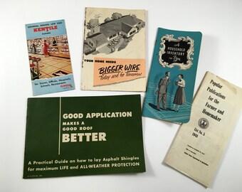 1940-1950s Farm & Household Pamplets/ Manuals. Ephemera, Advertising. Kentile Floors, Electric Wiring, Asphalt Shingles, Household Inventory