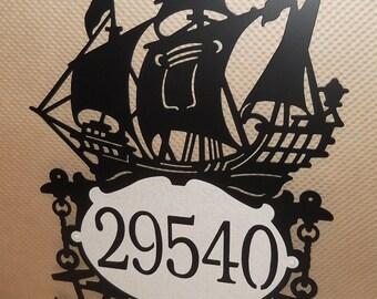 Sailing Ship Address Sign. Pirate Ship. Ocean. Waves. Boat. Sailor. Metal Art. Nautical. Marine. Beach. Address number. Sails. Wall decor.