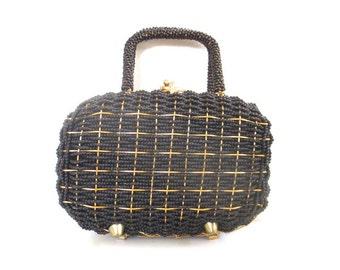 Vintage Beaded Black and Gold Handbag // Walborg Handmade in Hong Kong