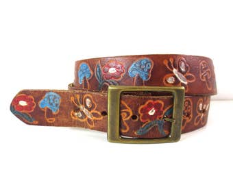 Vintage Tooled Leather and Painted Mushroom and Butterflies Belt