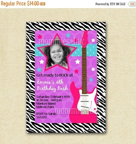 10% OFF SALE Rock Star Guitar Birthday Party Invitation - Rocker Invite - Girl's Birthday - Guitar Invite - PRINTABLE Invitation Design