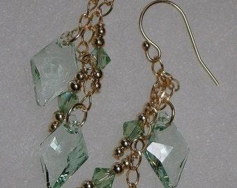 SALE NOW 15% OFF 14 Kt Gf Mint Green Diamond Crystals & Peridot Green Ab Swarovski Crystal Earrings