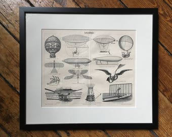 c. 1894 framed AIRSHIPS BALLOONS LITHOGRAPH - original antique print - air travel dirigible  Zeppelin blimp  - framed & ready to hang