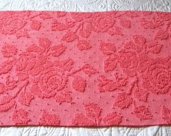 """Bright Rose Pink Roses Pearls Hobnail Vintage Chenille Bedspread Fabric 21"""" x 41"""" #1"""