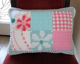 """Handmade Pink Aqua and White """"Patchwork Whimsy""""  Vintage Chenille Pillow 14"""" x 20"""" Feather Insert included"""