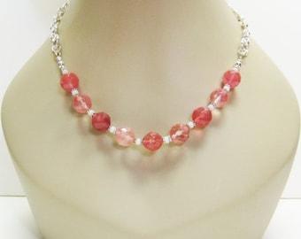 40% off Cherry Quartz Necklace - Pink Necklace - Gemstone Necklace - Fashion Necklace - Womens Necklace - Pink Jewelry - Quartz Jewelry - Gi
