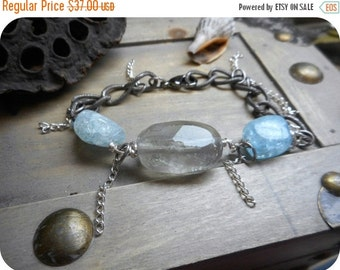 The Artcic Mist Chunky Boho Bracelet . Rustic Crackle Aquamarine Blue Quartz Flourite chunky steel and fringe Boho Gypsy bracelet