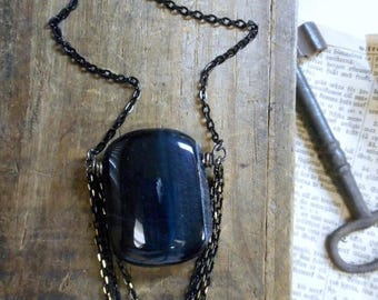 The Comatose Tiger's Eye Necklace. Blue Tiger's Eye Gemstone Pendant and chain sweep Boho Necklace