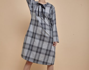 NEW! cotton dress - midi dress - oversized dresses for women - A line dress - dress with pockets - knee length dress - plaid dress