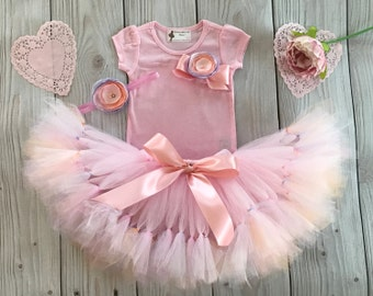 Peach Pink Lavender Tutu Dress Outfit for Baby Girls Birthday Party
