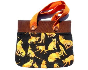 Kitty Cat Homemade Purse All New Material of Cotton and Cotton