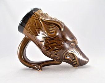 Direwolf Drinking Horn Style Beer Mug, Turkish Amber Glaze, Fantasy Art Sculpture Mug, for Renaissance Costume, Cosplay. LARP, Wolf Lovers