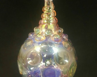 Blown glass ornament..irredescent hobnail by Erin Cartee