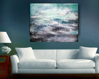 Large Original Abstract Landscape Clouds Storm Painting Thunderstorm Modern Colorful Gallery Wrapped 30 x 40 by Len Dickson