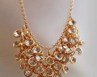 ON SALE Vintage Dangling Bezel Set Clear Rhinestone Necklace.  Bold Gold Large Rhinestone Bead Necklace.