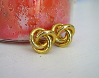 Vintage 1980's Erwin Pearl Earrings / 80's Gold Nautical Knotted Trefoil Clip On Earrings