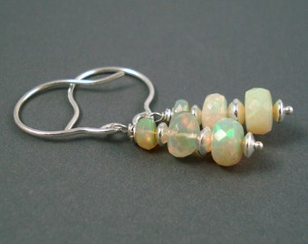 Opal Earrings with Sterling Silver Hook Wires and Large Colorful Ethiopian Opals