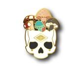 PRE-ORDER - Mushroom Skull - BIG Hard Enamel Pin - gold plating