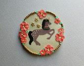 Floral Unicorn brooch