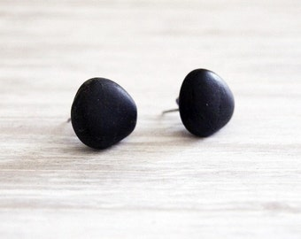 Pebble Ear Studs on Surgical Steel Posts / Stone Earrings / Natural Rock Studs