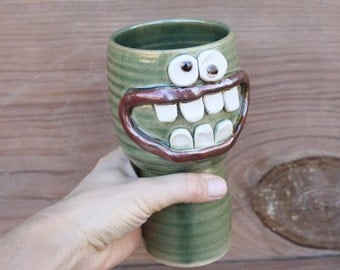 Green Wine Glass. Funny Awkward Family Get Together. Toasting Chalice. Handmade Stoneware Clay Pottery Goblet. Gifts Wine Lovers Drinkers.