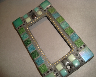 Another MOSAIC Outlet Cover or Switch Plate, GFI Decora, Wall Plate, Wall Art, Green, Teal, Gold