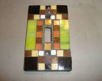 MOSAIC Light Switch Plate -  Single Switch, Wall Art, Wall Plate, Stained Glass, Green, black, Gold
