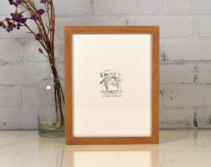 8.5 x 11 Picture Frame in Peewee Style on OAK with Solid Natural Finish - IN STOCK Same Day Shipping - 8.5x11 Modern Wood Picture Frame