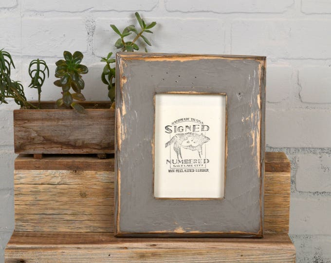"4x6 Picture Frame 2.25"" Reclaimed Pine with Beachy Super Vintage Grey Finish - IN STOCK - Same Day Shipping - 4 x 6 Gray Frame"